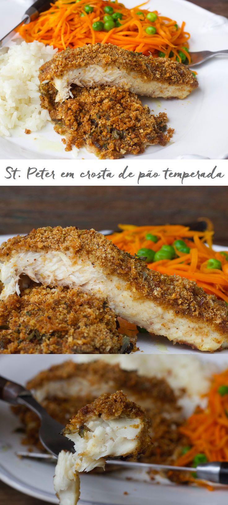 St. Peter em crosta temperada com spaghetti de cenoura. O peixe fica suculento, envolto por uma crostinha temperada, bem saboroso e sem trabalho. Basta temperar o peixe, deixamos marinando um pouco enquanto preparamos a farofa de pão, que pode ser feita com  qualquer pão  que você tiver ai  sua casa!