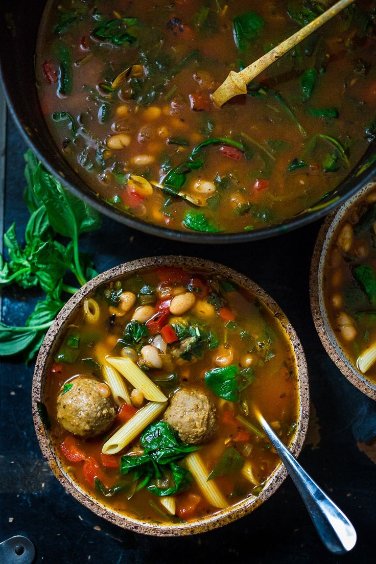 """Smokey Tomato Detox Soup- a healing detoxing pot of soup- with beans, vegan """"meat balls"""", spinach, pasta, or make it your own. Nutritious and cleansing. Vegan, Gluten Free. 