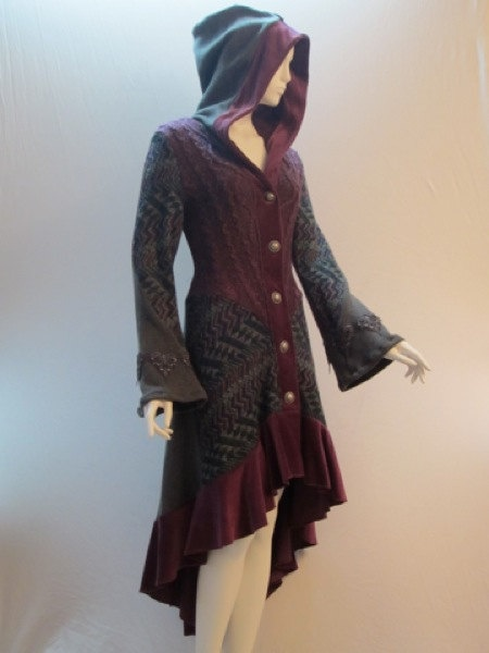 So very Stevie Nicks...Recycled Sweater Coat in Berry Charcoal & Zig Zag by ipseity, $578.00