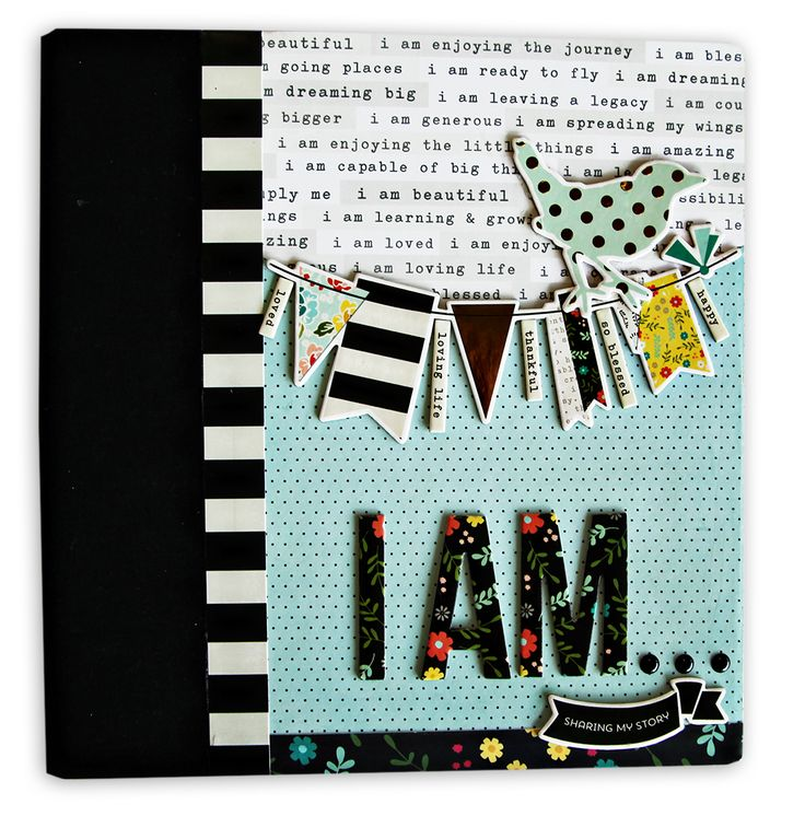 I Am... Album Cover - Embellished - Scrapbook.com - Take Scrapbook.com founder Jill Davis' I Am Album class to learn how to make this beautiful album!