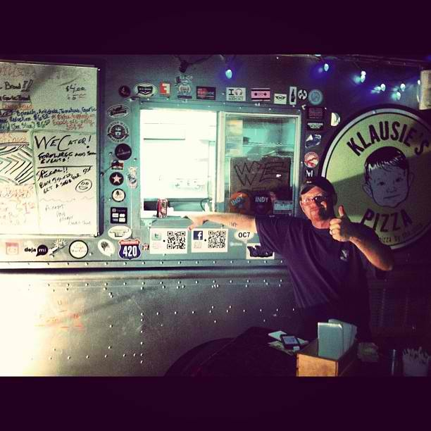 Klausie's Pizza. Silver pizza food truck serving square Detroit-style pan pizza served by the slice, the whole pie, and take-and-bake to Raleigh, Durham, RTP and surrounding NC area.