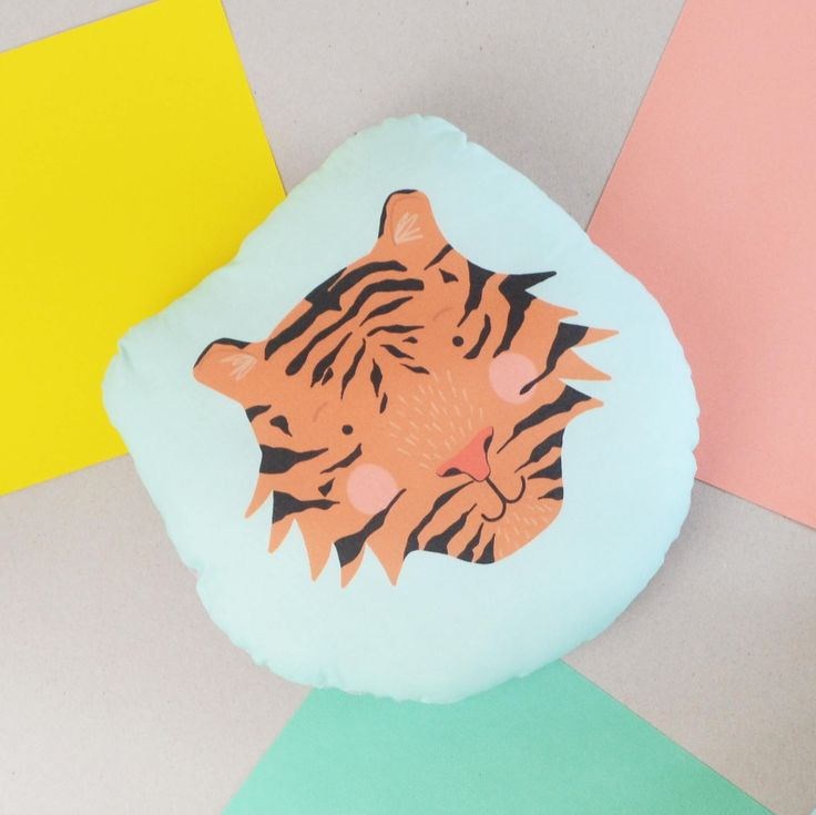 Tiger Cushion, Children's Tiger Face Cushion, Illustrated Tiger Head Plush Cushion, Kids Bedroom Decor, Children's Nursery Cushion by HannahStevensShop on Etsy