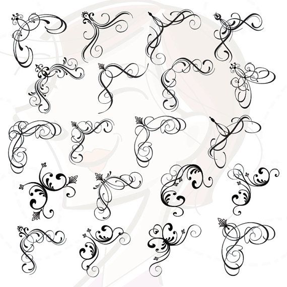 Frame corners clipart digital retro filigree border