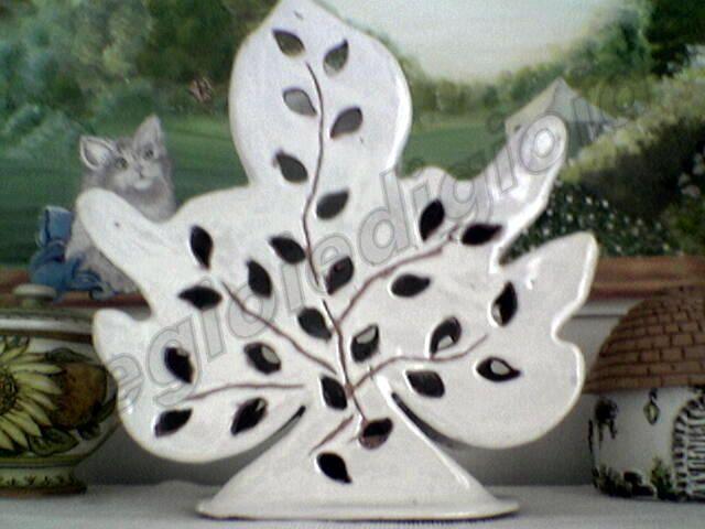 lampada foglia ceramica