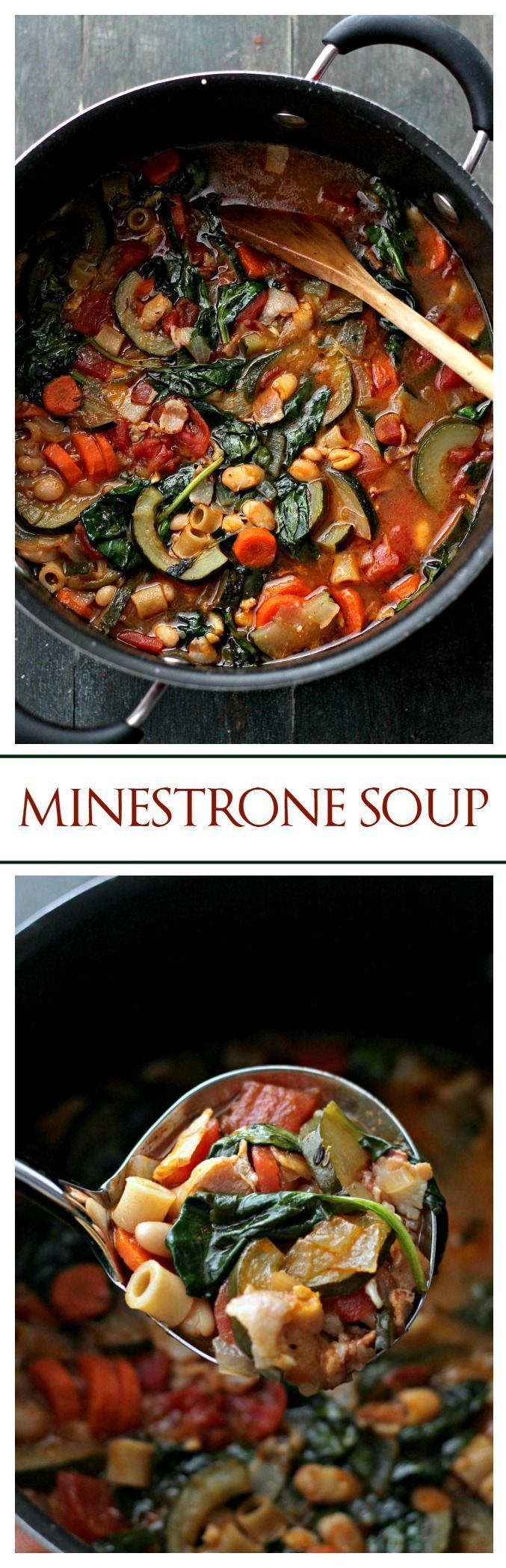 Minestrone Soup | www.diethood.com | Packed with vegetables, bacon and pasta, this soup makes for a hearty, filling and delicious meal.