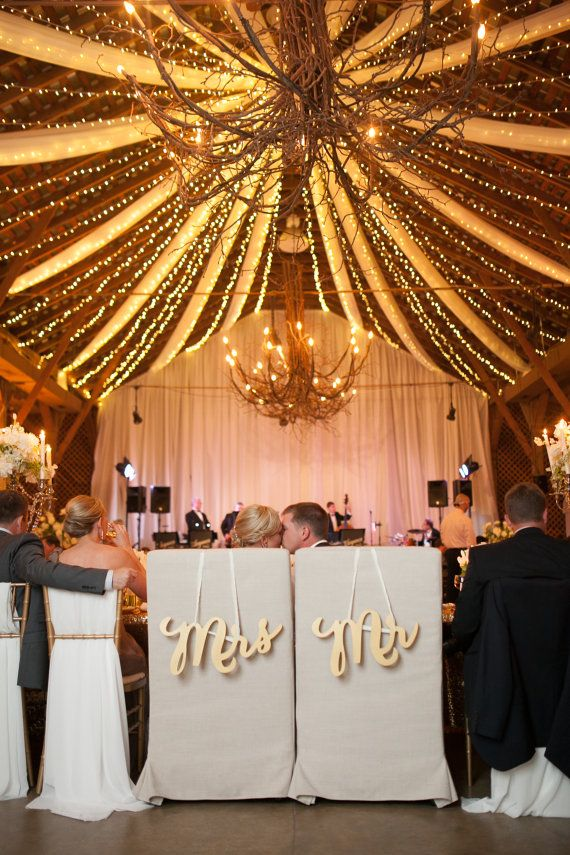 "2015 Wedding Trend Inspirations | Gold ""Mr & Mrs"" Chair Signs for Wedding by ZCreateDesign 
