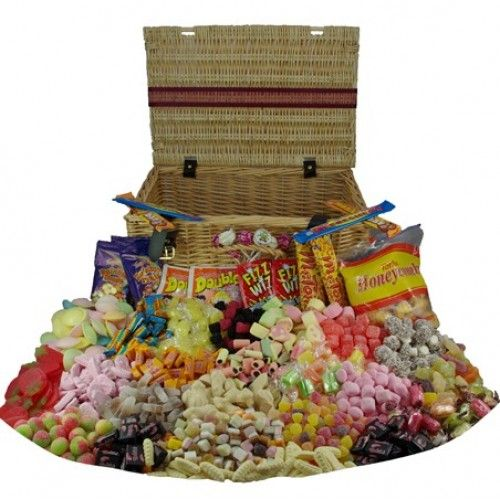 Wicker Sweets Hamper - Large old fashioned sweets