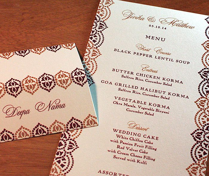 Purple and copper metallic mosaic inspired wedding reception set with customized place card and dinner menu for a formal reception.  | Invitations by Ajalon | invitationsbyajalon.com