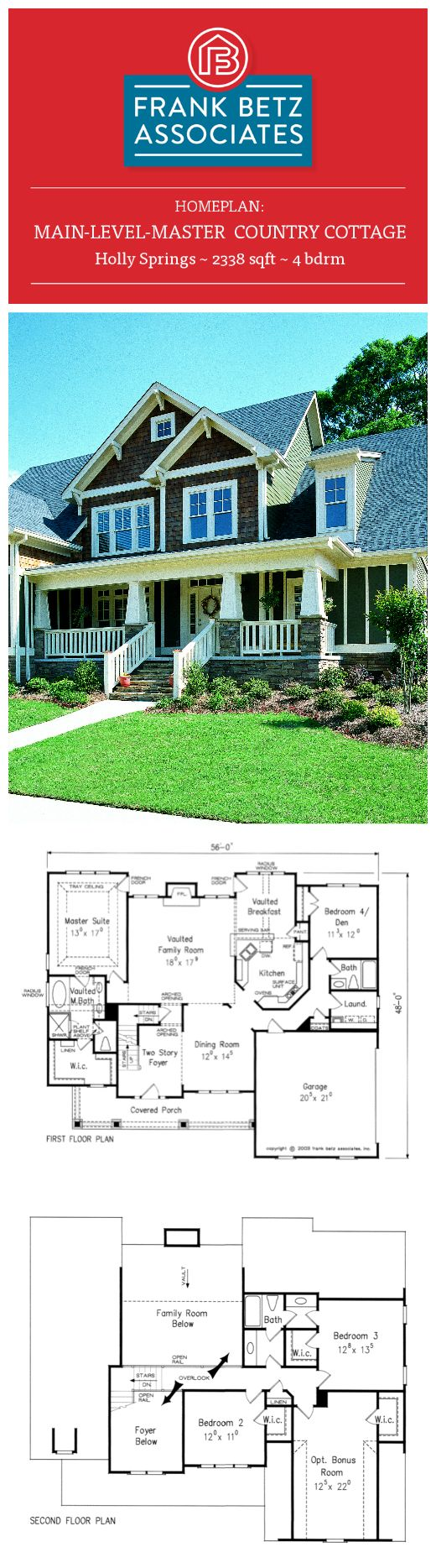 Holly Springs: 2338 sqft, 4 bdrm, main-level-master Craftsman style house plan design by Frank Betz Associates Inc.