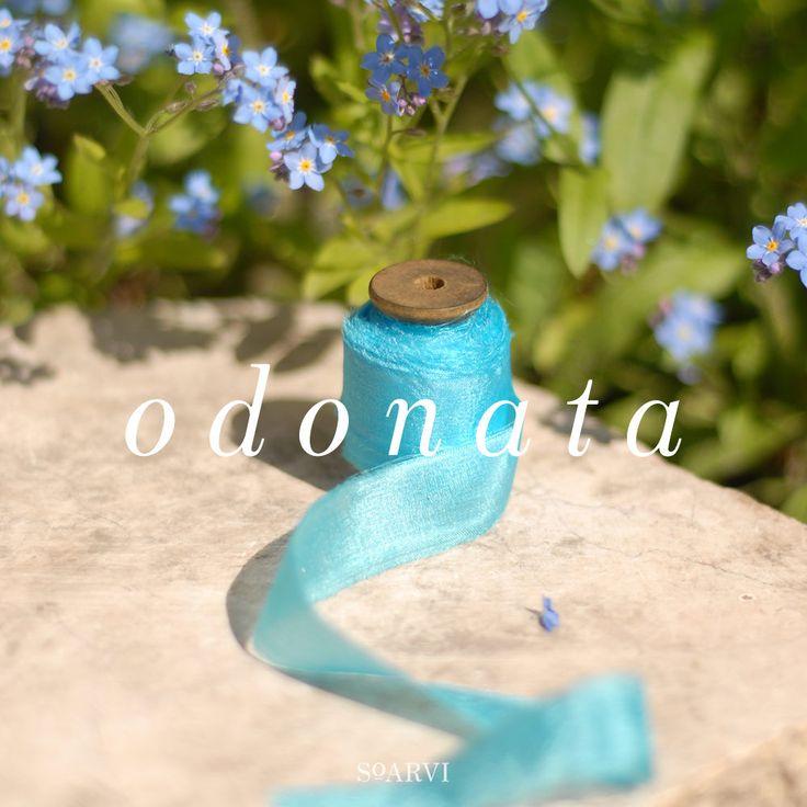 Feathered habotai silk ribbon in 'ODONATA' 10