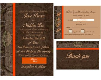 Classic Mossy Oak Wedding Invitation Orange Trim
