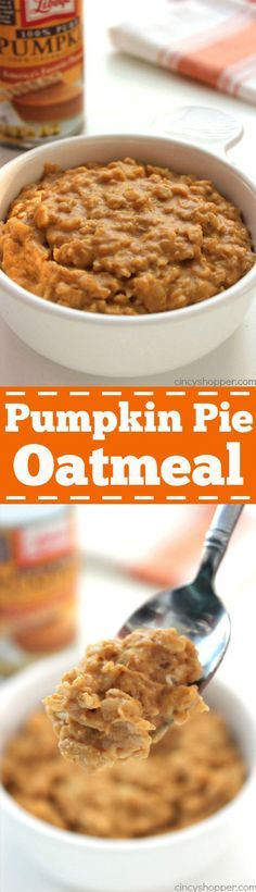 Pumpkin Pie Oatmeal - Super quick, easy and comforting fall breakfast.