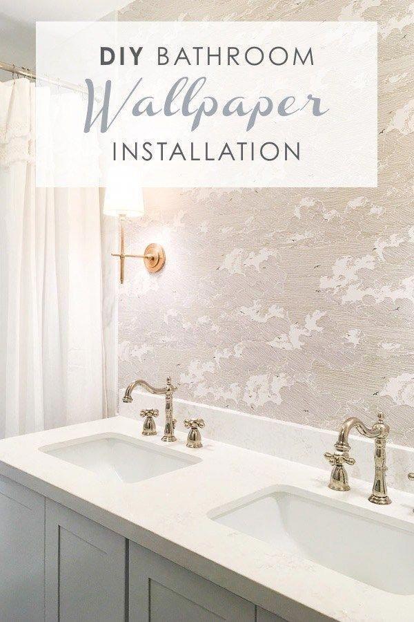 Diy Bathroom Wallpaper Installation Master Bathroom Remodel Small Bathroom Renovation Diy Install W Diy Bathroom Bathroom Wallpaper How To Install Wallpaper
