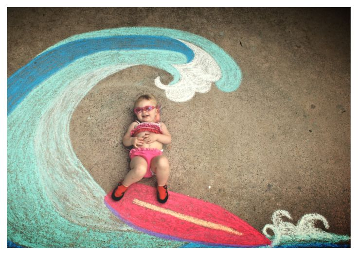 Little surfer girl chalk art                                                                                                                                                                                 More