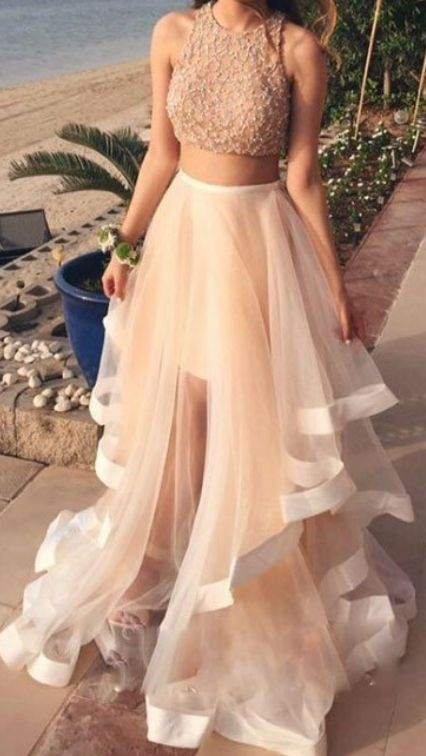White Two Pieces Sequin Tulle Dresses, Long Prom Dress, Sexy Prom Dresses