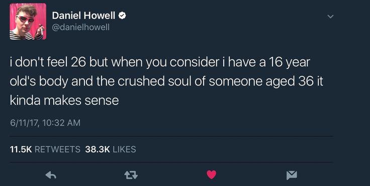 Character development from his last birthday tweet.