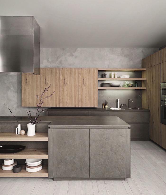 Modele De Cuisine Grise Et Bois Minimaliste Avec Mur Effet Beton Idee Amenagement Cuisine Design Kitche Kitchen Fittings Modern Kitchen Design Modern Kitchen