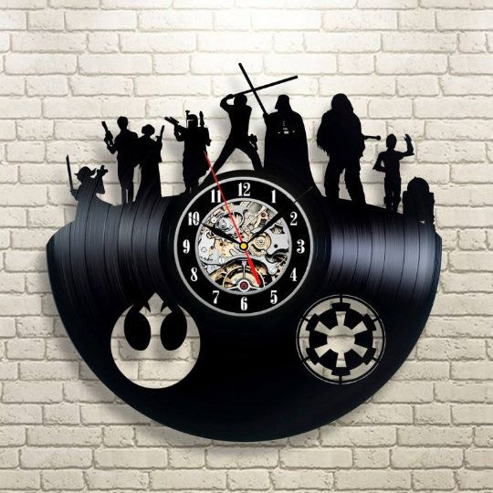 12 inches Darth Vader Vinyl Wall Clock Death Star Wars Dark Side Saga Art Decorate Home Style Unique Gift idea for Him Her