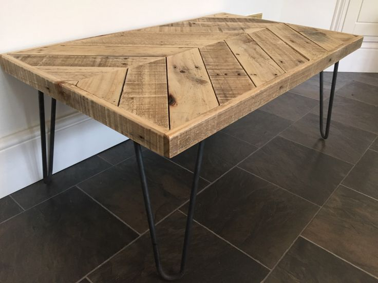Chevron Coffee Table with Hairpin Legs by ChewtonWoodDesign on Etsy https://www.etsy.com/listing/264972079/chevron-coffee-table-with-hairpin-legs