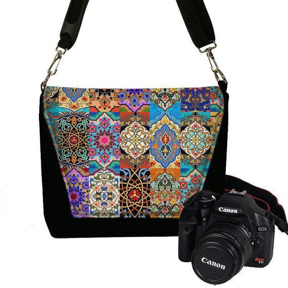 Women's Dslr Camera Bag Purse for Nikon Canon Sony  Messenger Style Camera Case, Bohemian Persian Patchwork Jewel Tones Boho colorful RTS