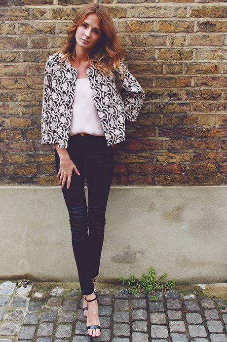 Millie Mackintosh wearing River Island jacket, cami top, jeans and barely there stiletto sandals #riverisland.