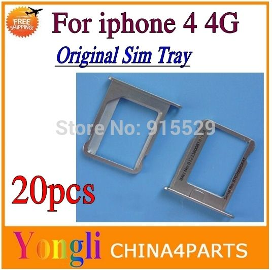 20pcs/lot  100% Original Sim Card Slot Tray Holder Replacement for iphone 4 4G 4S  Free Shipping