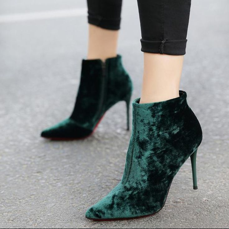 Cheap women shoes high heel, Buy Quality brand heels directly from China designer brand heels Suppliers: Europe style Brand Design Women Shoes high heels pointed head velvet hell shoe green, brown, gray women pumps zapatos mujer