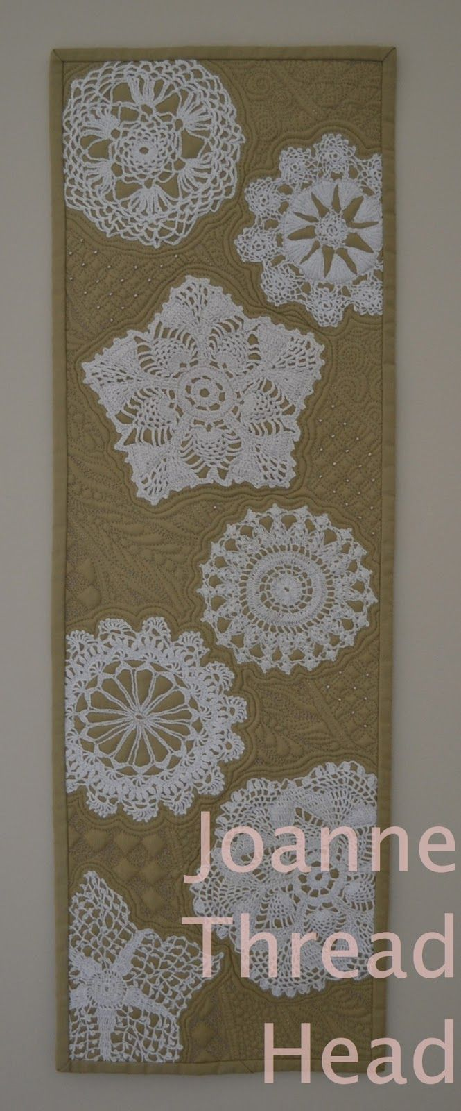 """'Falling Snowflakes'  - made with old lace doilies. Inspired by the Cindy Needham Craftsy Class - """"Design It, Quilt It"""""""