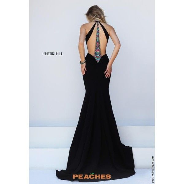 Sherri Hill Long Fitted Dress 50122 ($498) ❤ liked on Polyvore featuring dresses, fitted prom dresses, form fitting prom dresses, open back prom dresses, long fitted dresses and tight dresses