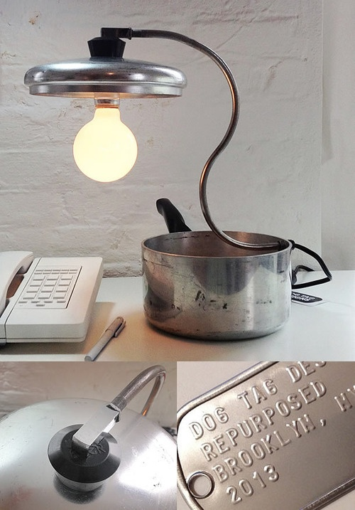 Sauce Pan Lamp by Dog Tag Designs