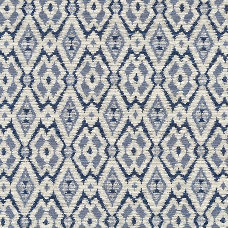 Navy Blue Woven Ikat Upholstery Fabric   Dark Blue Chenille Fabric    Geometric Blue Pillow Cover   Modern Blue Ikat For Furniture Upholstery