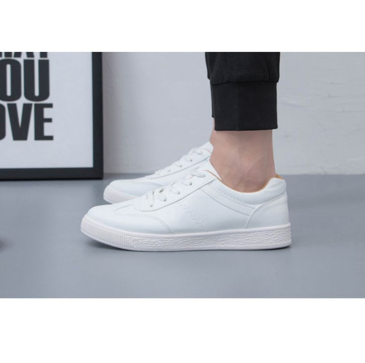 AYF Men's Casual Fashion Sneakers Synthetic Leather White Shoes US Size 7 ~ 9 #AYF #FashionSneakers