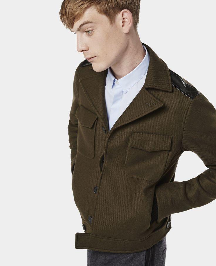 Blouson en drap de laine à détails militaire - Blousons - Homme - The Kooples