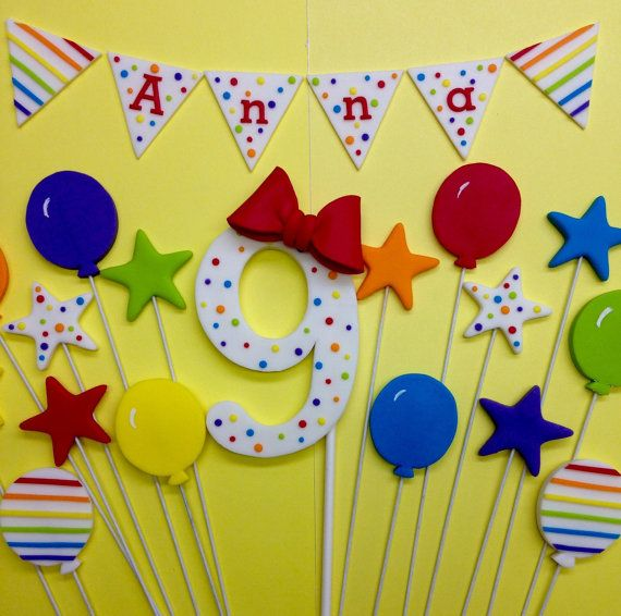 Fondant 1st Birthday Rainbow Cake Topper Set, Rainbow Number, Bunting, Balloons, Stars, Fondant Number, Fondant Age, Rainbow Party