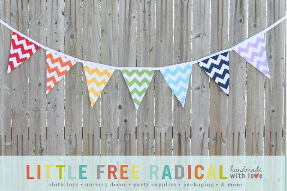 Rainbow Chevron Fabric Pennant Bunting Banner by LittleFreeRadical, $25.00