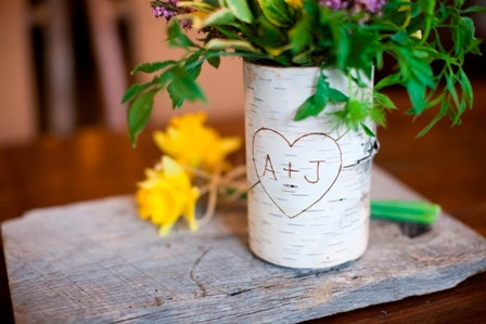 Birch bark covered glass vase. Personalized with a heart and your initials