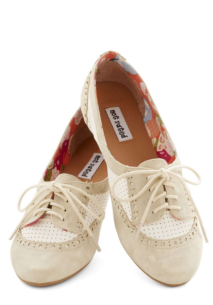 Spirited Sojourn Flat in Cream. Youre in a neighboring city for the day, skipping down the blocks merrily in these cream and white lace-up flats! #cream #modcloth