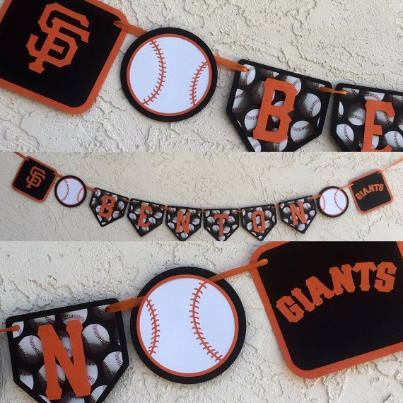 San Francisco Giants NAME only banner.  Hey there SF Giants Fans! Get your personalized Giants banner today! Great for Giant themed birthdays, sports teams or just for fun (because you love the Giants)! Go Giants!!  This San Francisco Giants Baseball inspired banner is perfect for your favorite little (or big) slugger. The banner is made of durable quality card stock, printed paper, and held together with ribbon (included). foam square are used on the baseballs to create a 3d look…