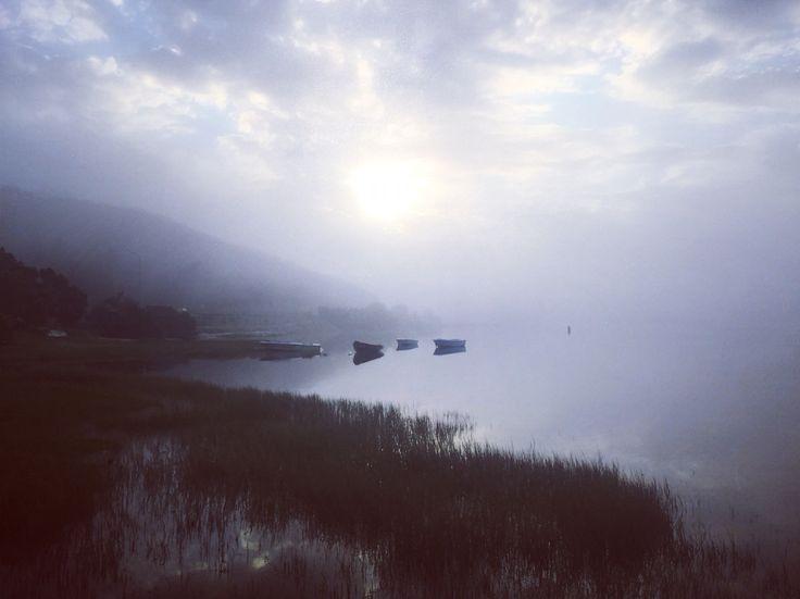 Boats in the mist. Knysna lagoon.