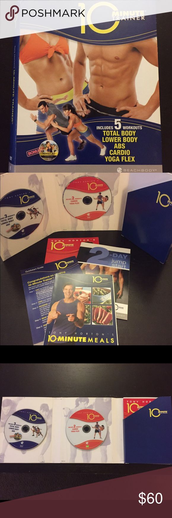 BEACHBODY | 10 Minute Trainer Workout Don't have much time to work out but want great results?! Try out this awesome workout DVD set from BEACHBODY! Included is what is photographed: the 2 DVDs with all the workouts on them. This does NOT include any work out bands or equipment.  (Disclaimer: This DVD set has not been used in years & I do not have the time to sit through & watch it to see the condition of it. I personally never had a problem with it & always kept it in the case when not in…