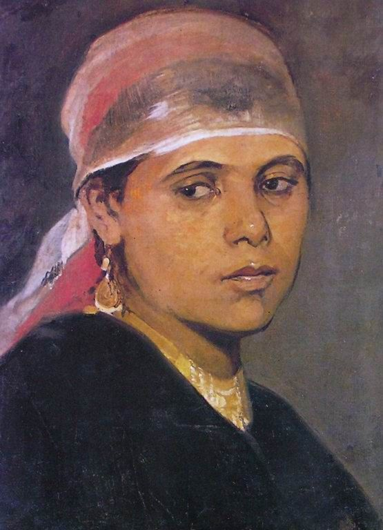 ''The Fellah Girl ''oil on canvas mounted on paper 36 × 46 cm by  Nikiphoros Lytras (1832–1904)