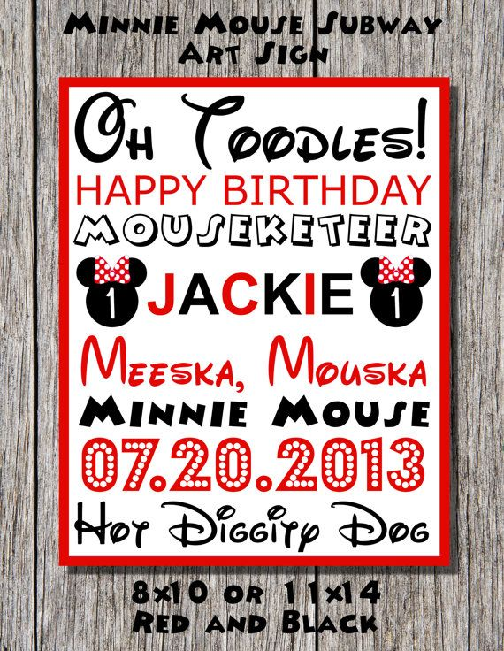 Personalized Minnie Mouse Birthday Subway Art in Red and Black