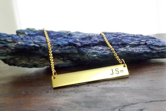 Check out this item in my Etsy shop https://www.etsy.com/au/listing/289668851/initials-necklace-gold-bar-necklace