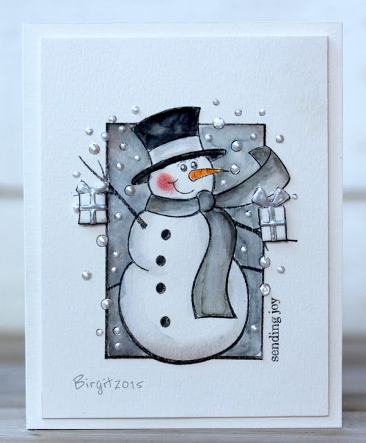 I´ve done two cards with snowmen in grey with stamps from Penny Black! :)     For this card I used   Frosty´s Wish   Holiday Snippets      ...