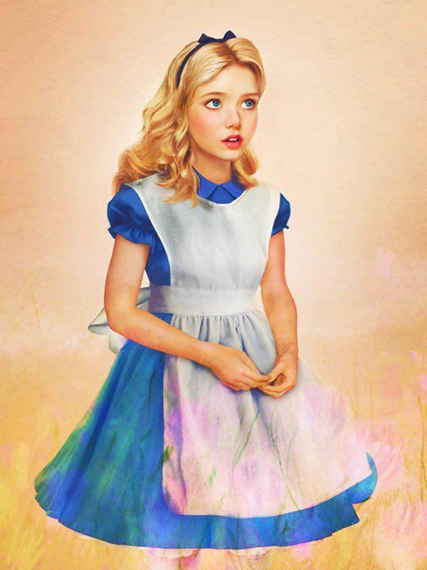 """Süß: Alice aus """"Alice im Wunderland"""" mit fragendem bis staunendem Blick als Digital Painting von Jirka Väätäinen."""