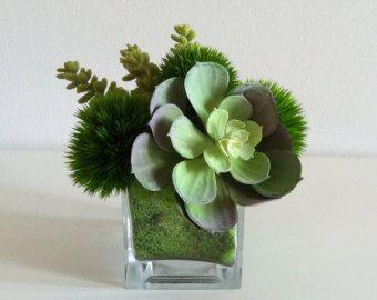 Artificial Succulent Arrangement / Faux Succulents / Glass Cube