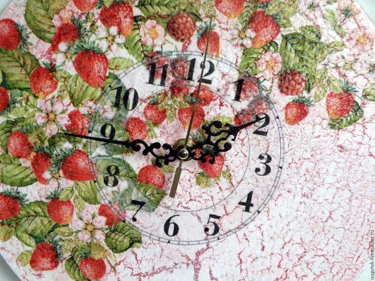 """Купить Часы настенные """"Земляничные"""" - ярко-красный, часы, часы настенные, часы интерьерные"""