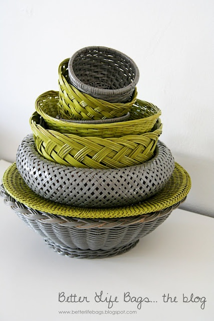 Spray painting cheap wicker baskets to match any decor.