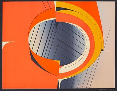 Komposisjon i oransje, 1970 Fargeserigrafi, Gunnar S Gundersen