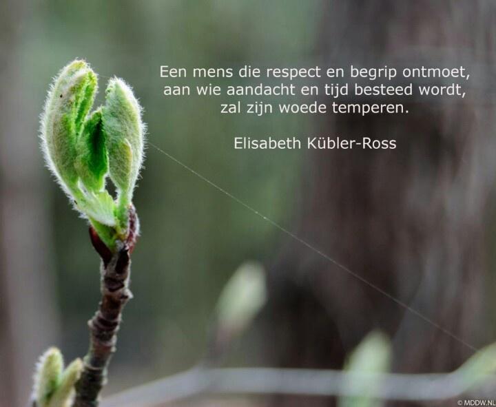 Een mens die respect en begrip ontmoet, aan wie aandacht en tijd besteed wordt, zal zijn woede temperen. - Elizabeth Kübler-Ross